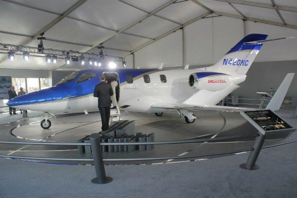One of five FAA-conforming HondaJets on display at NBAA 2013.