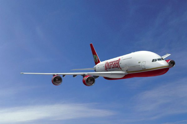 A A380-800 aircraft operated by Kingfisher Airlines.
