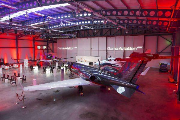 inside Gama Aviation hangar at Glasgow Airport
