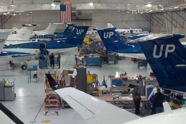 A line of King Air 350is being built for Wheels Up in Beechcraft's factory.