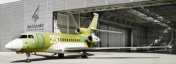 the 250th Dassault Falcon 7X rolled out from production line at Bordeaux, France