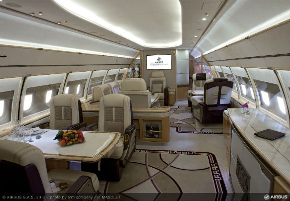 interior of the executive lounge on Aviation Link Airbus ACJ319