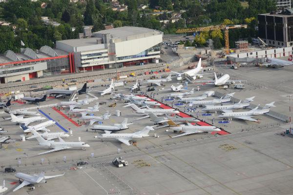 The static display of aircraft at EBACE 2014 in Geneva