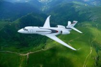 Dassault Falcon Jet gets ready for the Super Bowl
